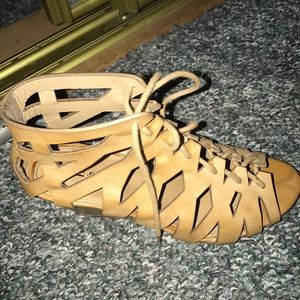 Camel laced up gladiator wedges