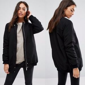 NWT cozy black fleece lined bomber longer length