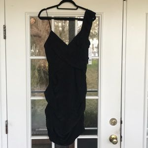 NWT Nicole Miller black ruffle cocktail dress - 10