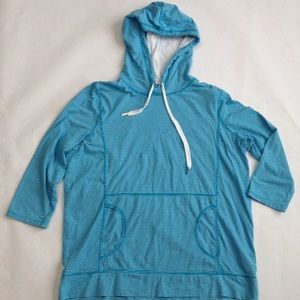 Ralph Lauren 1X Hoodie White Aqua Blue Cotton