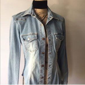 Stretch jean jacket shirt