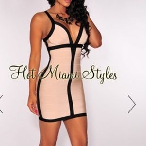 HMS beige & black bandage dress