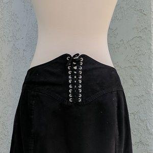 Corset back tie black goth skirt medium