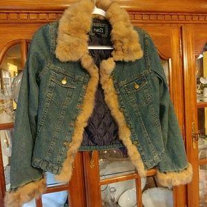 Rue 21 fur trimmed jean jacket