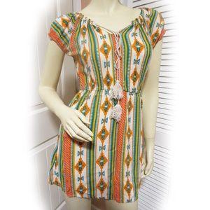 5TH & LOVE Multicolor White Orange Turquoise Dress