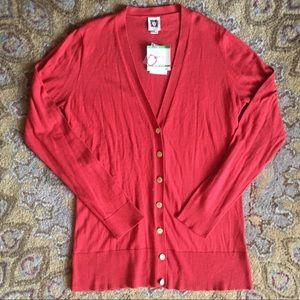 NWT Anne Klein V-Neck Cardigan Cotton/Wool Blend