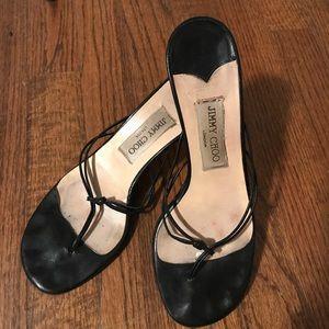 Jimmy choo blk thong sandal