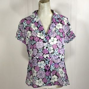 All Items! 3for$15! Sheer floral Button Blouse