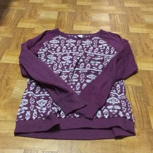 Sweaters - Purple tribal print sweater