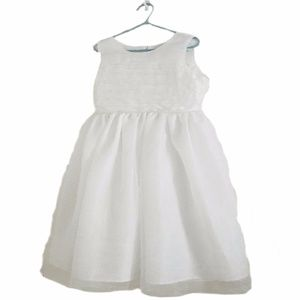 Scoop Neck Crystal Beaded Pleated Top Girls Dress