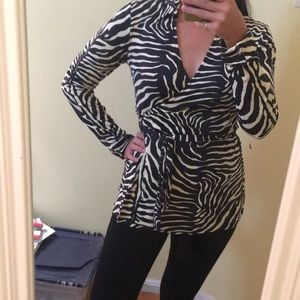 Zebra print wrap shirt