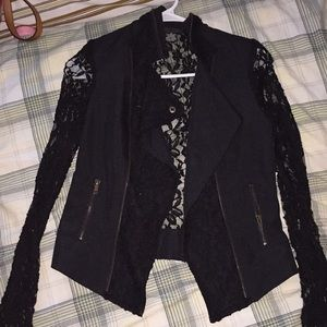 Windsor | Pretty Black Floral Lace Zip Up Jacket