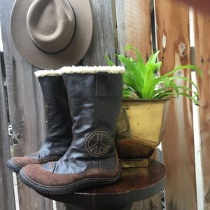 Brown Leather Peace Sign Boots