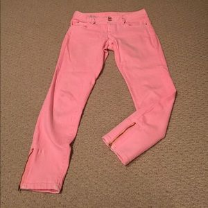 Lilly Pulitzer worth skinny mini zip coral jeans