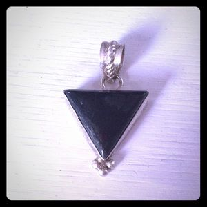 Triangle Black Stone Silver plated Witchy Pendant
