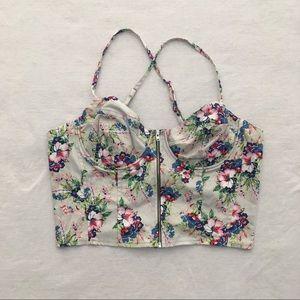 NWT Asos Floral Bustier Zip Up Crop Top