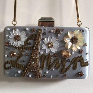 Lanvin box clutch light blue Paris