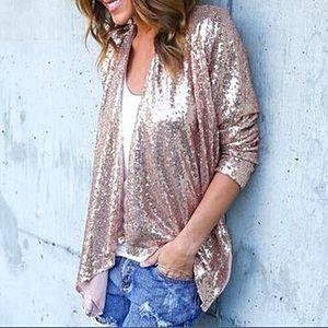 Jackets & Blazers - New Rose Gold Sequin Blazer Hi Low Jacket Top
