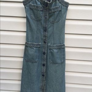 CHANEL Dresses - Chanel dress Vintage Denim Pinafore Dress Size 36