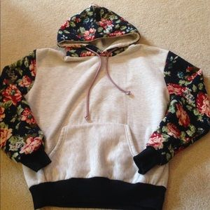 Tops - Gray and navy floral hoodie