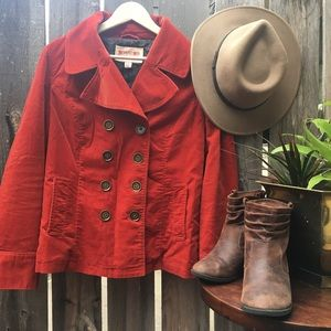 Burnt Orange Fall Pea Coat