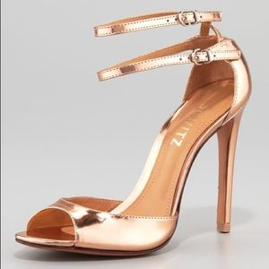 SCHUTZ Imalia Rose Gold Ankle Strap Sandals Shoes