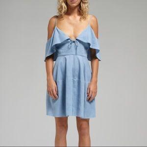 N/Nicholas Chambray Deep V Tie Dress