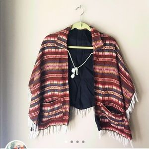 Navajo Native American Collared Lace up Shawl