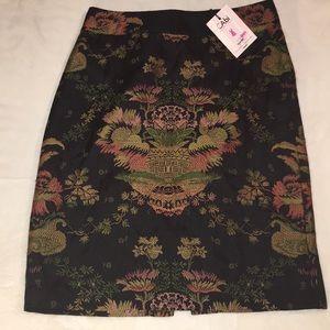 Black jacquard fabric skirt