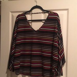 V neck and back striped top