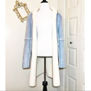 ANNE KLEIN Sky Blue Faux Suede Coat