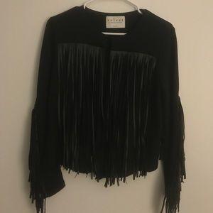 Velvet brand leather fringe jacket