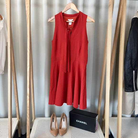Esley Dresses & Skirts - Red Tie Neck Dress