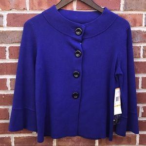 NWT Anne Klein Royal Purple Swing Sweater S