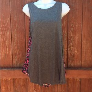 Juicy couture grey & pink/leopard top size xl