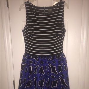 Blue and Black Patterned A-Line Dress
