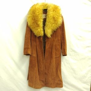 Vintage Suede and Faux Fur Trench Boho Winter Coat