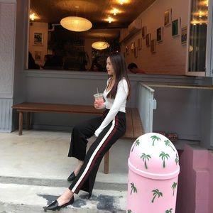 Pants - Striped slit side wide leg pants