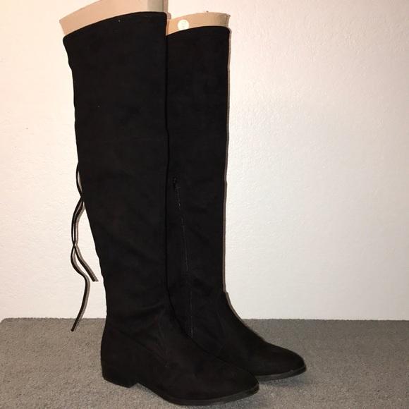 0181e061549 INC Imannie Black Canvas Over the Knee Boots