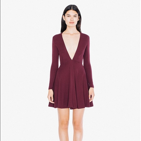 58852c86da American Apparel Long Sleeve Deep V Skater Dress