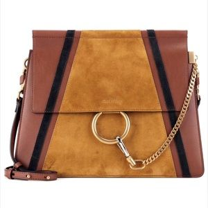 NEW MEDIUM FAYE SUEDE PATCHES LEATHER BAG