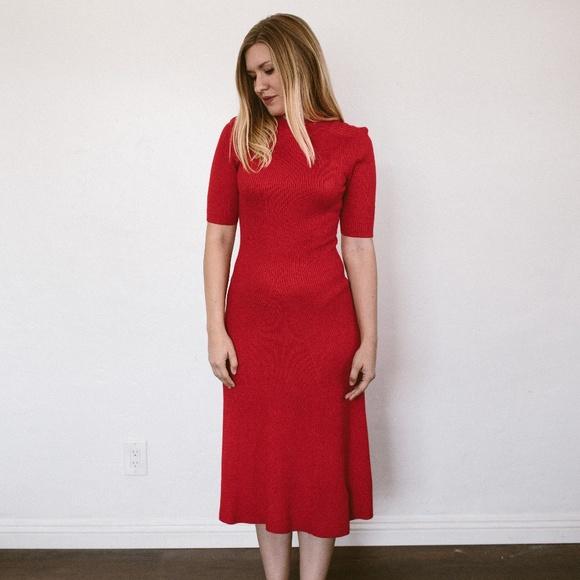 b24ed841b12 H M Dresses   Skirts - H M red mock neck midi dress