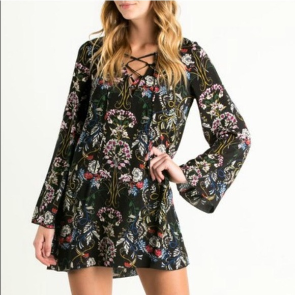 The Hanger      MayMaysBoutique Dresses & Skirts - The Nora Lace Up Floral Print Tunic Dress