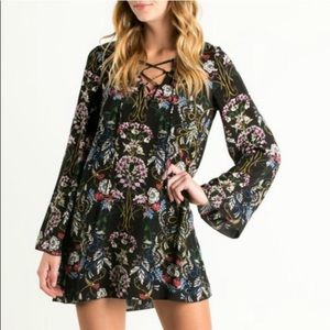 The Hanger      MayMaysBoutique Dresses - The Nora Lace Up Floral Print Tunic Dress