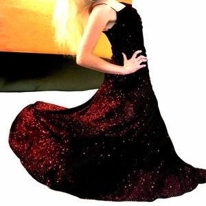 VTG JODI KRISTOPHER Sparkle Blood Red Glitter Gown