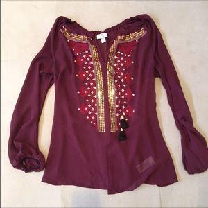 Altuzarra for target sheer maroon peasant blouse