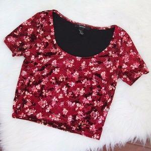 Forever 21 Burgundy Velvet Crop Top w/ Flowers