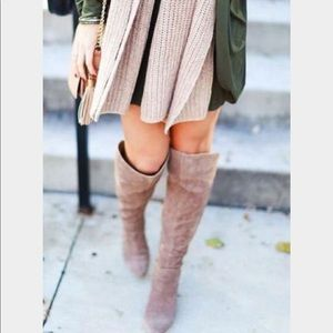 {ZARA} Over The Knee Blush Pink Suede Wedge Boots