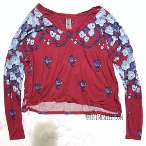 Free People Floral Gardenia Red Long Sleeve Top