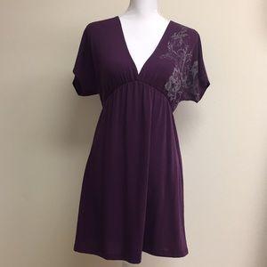 Purple love culture v neck dress